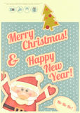 Retro Merry Christmas and New Years Card Royalty Free Stock Image