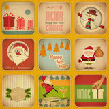 Retro Merry Christmas and New Years Card. Set Royalty Free Stock Image