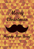 Retro Merry Christmas and New Years Card. Vintage  Royalty Free Stock Photography
