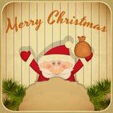 Retro Merry Christmas with Santa Claus Stock Photos