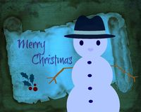 Retro Merry Christmas With Snowman Royalty Free Stock Photography
