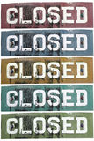 Retro metal closed signs in different colours. Damaged retro metal closed signs in different colours royalty free stock photography