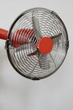 Retro metal fan on neutral background Royalty Free Stock Photo