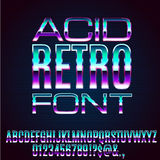 Retro Metal Font. Acid 80`s and 90`s retro style vector font with chrome effect on letters Stock Photography
