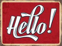 Retro metal sign. Hello, eps10 vector format Royalty Free Stock Image