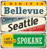 Retro metal signs collection with USA cities vector illustration