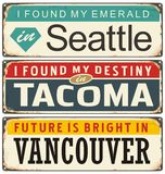 Retro metal signs collection with USA cities Royalty Free Stock Images