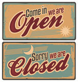 Retro metal signs set for store or shop. Vintage tin signs with Come in we are open and Sorry we are closed text. Retro metal signs set for store or shop Stock Photos
