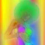 Retro metallic abstract image of a woman with an afro hairstyle. Royalty Free Stock Images