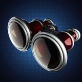Retro metallic binocular on blue background Stock Photography