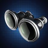 Retro metallic binocular on gray background Royalty Free Stock Image