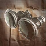 Retro metallic binocular  painted on paper. Background Stock Photo