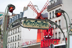 A retro Metro sign in Paris Royalty Free Stock Photo