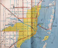 Retro Miami, Florida Map. A 1953 area map of Miami, Florida, before heavy population and road growth royalty free stock image