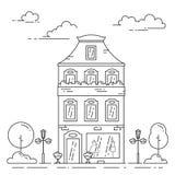 Retro miasto linii dom - wielo- kondygnacja budynek mieszkaniowy w rocznika stylu z smokingowym sklepem ilustracja wektor