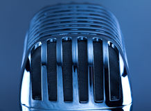 Retro Mic. Close up on silver background Royalty Free Stock Photo