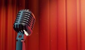 retro microfono 3d sul fondo rosso della tenda Fotografie Stock Libere da Diritti