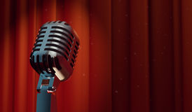 retro microfono 3d sul fondo rosso della tenda Immagine Stock