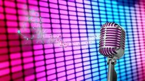 Retro microfono isolato sulle luci della città Fotografia Stock Libera da Diritti