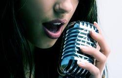 Retro microfono sexy Immagini Stock Libere da Diritti