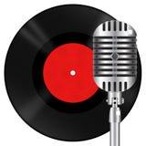 Retro microfoon en vinylschijf vector illustratie