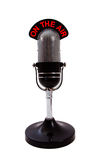 Retro Microphone. Vintage retro 'On the Air' Microphone isolated over white background Stock Image