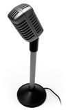 Retro Microphone. Isolated Classic Retro Microphone from the fifties in black and white Stock Photos