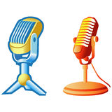 Retro microphone. Two Retro microphones on the white Royalty Free Stock Photos