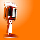 Retro Microphone. Hot Vector Retro Microphone on orange background royalty free illustration