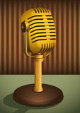 Retro microphone. Poster with illustrated retro microphone Royalty Free Stock Images