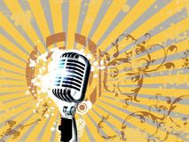 Retro microphone. On vintage abstract background Stock Image