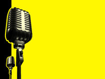 Retro microphone. And paths on yellow background stock illustration