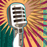Retro microphone with abstract elements. Vector illustration Royalty Free Stock Image