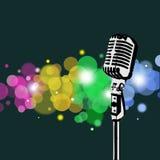 Retro Microphone abstract Spotlight. Retro microphone with abstract spotlight background Stock Image