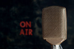 Retro Microphone with On Air Background stock photos