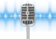 Retro microphone with audio wave. Isolated over white background Royalty Free Stock Image