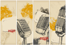 Retro microphone banners-drawing stock illustration