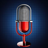 Retro microphone on blue background Stock Images