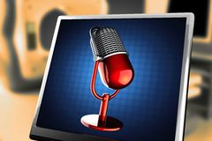 Retro microphone on blue background at monitor. 3D rendered Stock Images