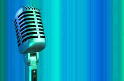 Retro microphone in blue light Royalty Free Stock Images