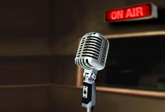 Retro microphone broadcasting live on air Stock Photos