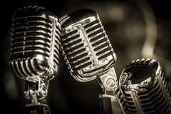 Retro microphone closeup Stock Photography