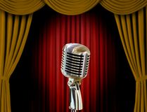 Retro microphone and curtains Stock Photo