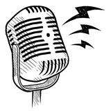 Retro microphone drawing Royalty Free Stock Images