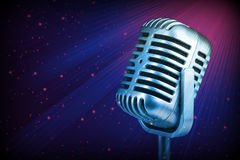 Retro microphone. Dynamic microphone stock photo