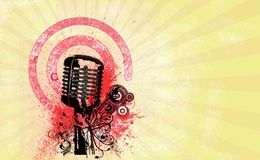 Retro microphone flyer party. Retro microphone  on vintage abstract background-yellow-red-white Royalty Free Stock Photos