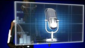 Retro microphone on futuristic hologram Stock Photo