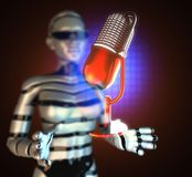 Retro microphone on  futuristic hologram Royalty Free Stock Image