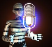 Retro microphone on  futuristic hologram Stock Photography