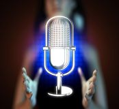 Retro microphone on hologram Stock Image